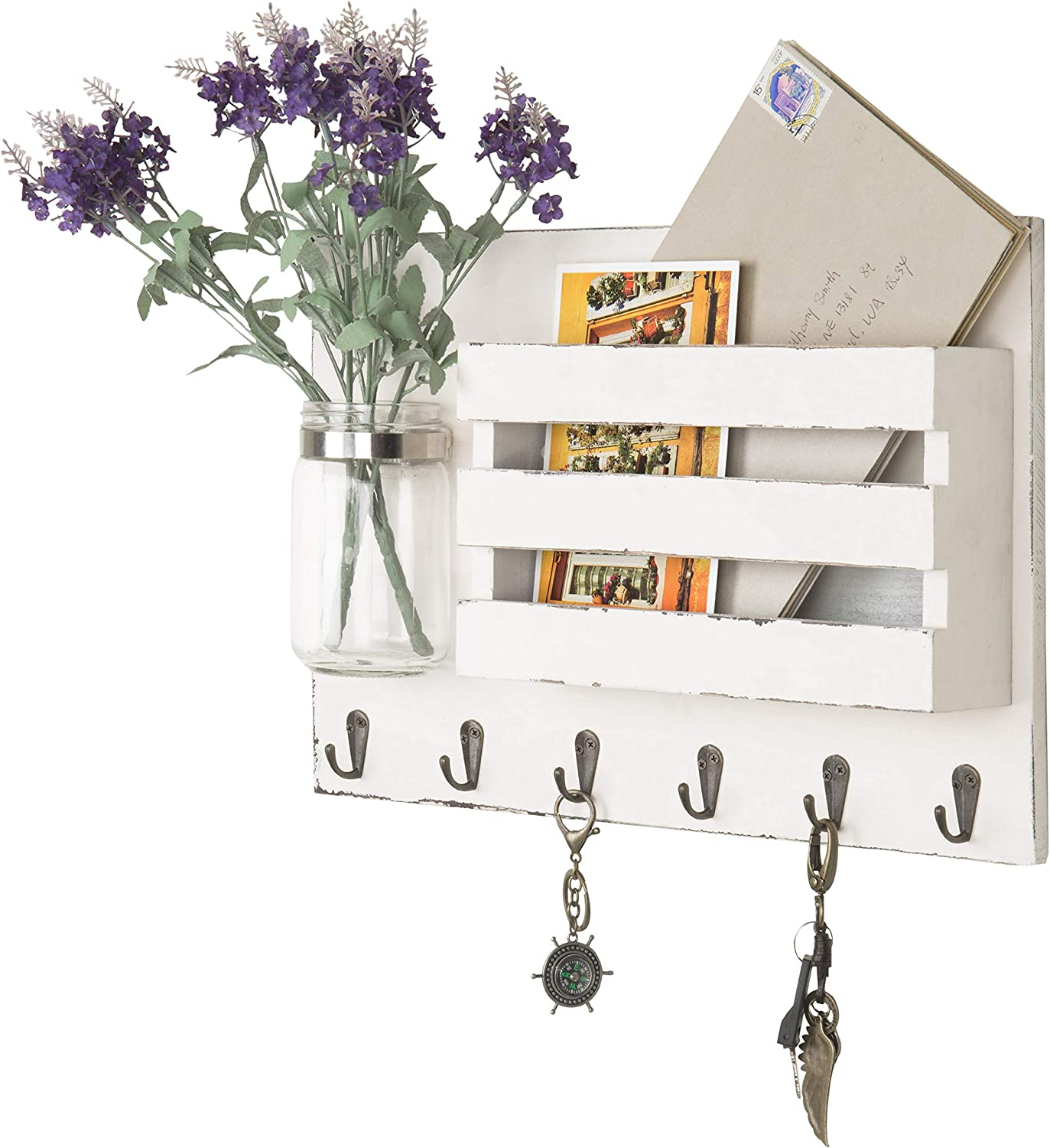 MyGift Wall-Mounted Vintage White Wooden Mail Holder Organizer with 6 Key Hooks & Mason Jar