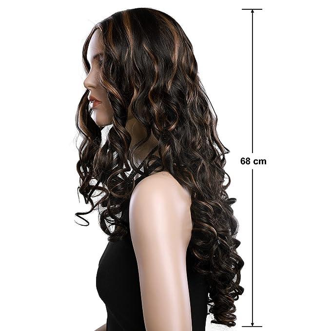 SONGMICS Longitud de 68 cm Peluca con cabello largo y rizado Peluca para mujeres con vereda media Cabello sintético de reemplazo para Disfraz Fiestas ...
