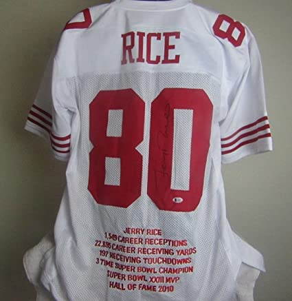 meet 4204f e75d7 JERRY RICE AUTOGRAPHED SIGNED SAN FRANCISCO 49ers JERSEY at ...