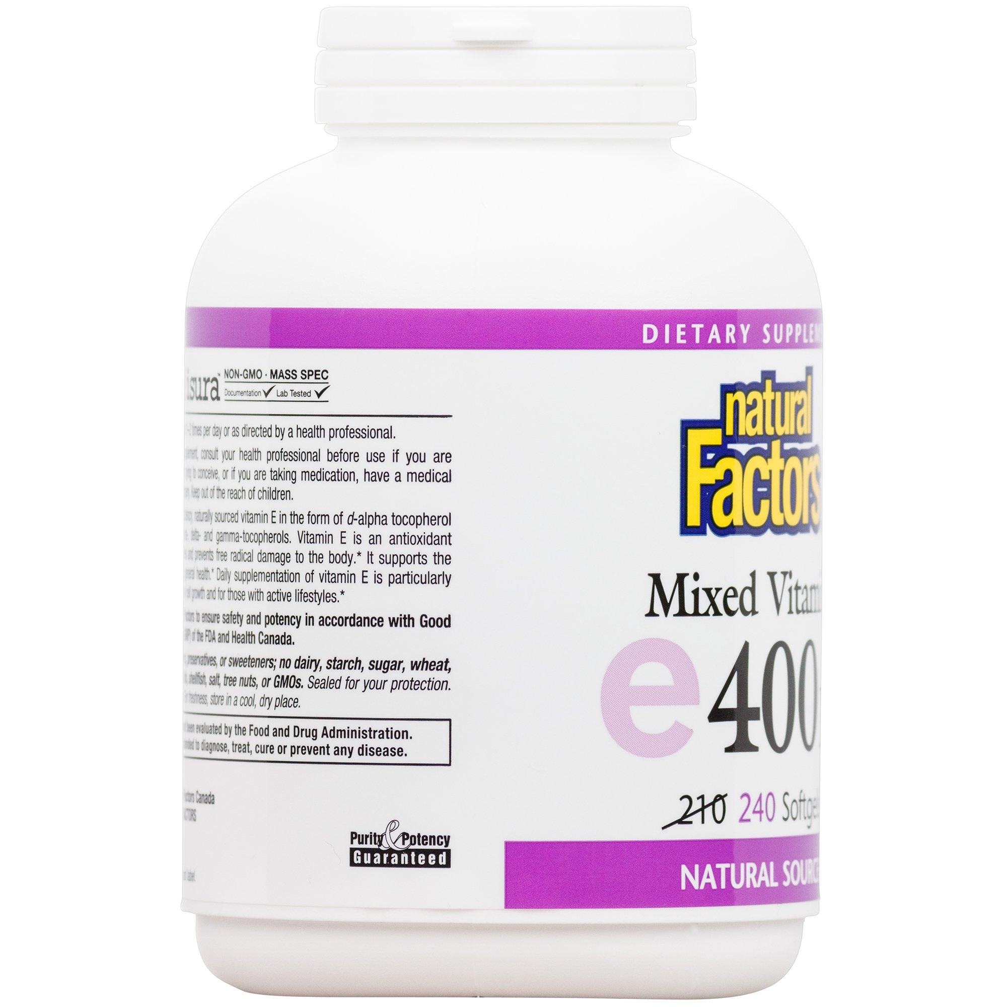 Natural Factors, Mixed Vitamin E 400 IU, Antioxidant Support for Cardiovascular and General Health, 240 softgels (240 servings)