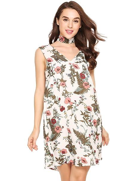7ff3bff4a05 Zeagoo Women's Summer Chiffon Floral Print Sleeveless Tunic Dress with Halter  Choker,Pat2,Small