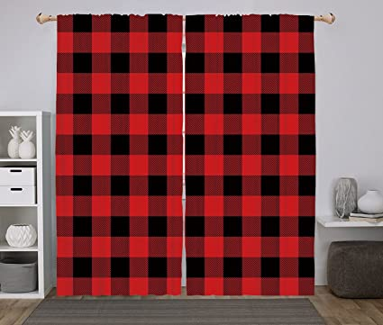 IPrint 2 Panel Set Window Drapes Kitchen Curtains,Red Plaid Lumberjack  Clothing Inspired Square Pattern
