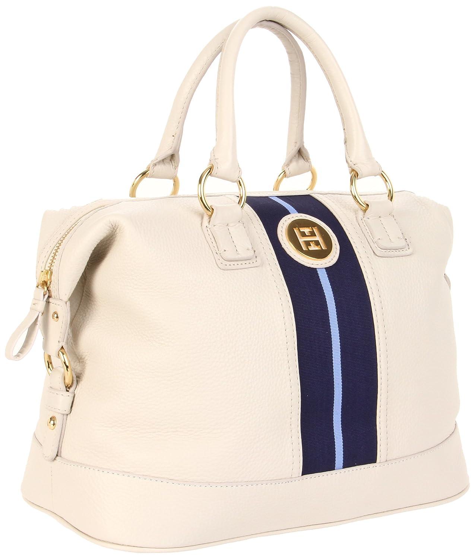 bc56aa7a Tommy Hilfiger TH Logo Pebble Leather Bowler, Winter White: Handbags:  Amazon.com