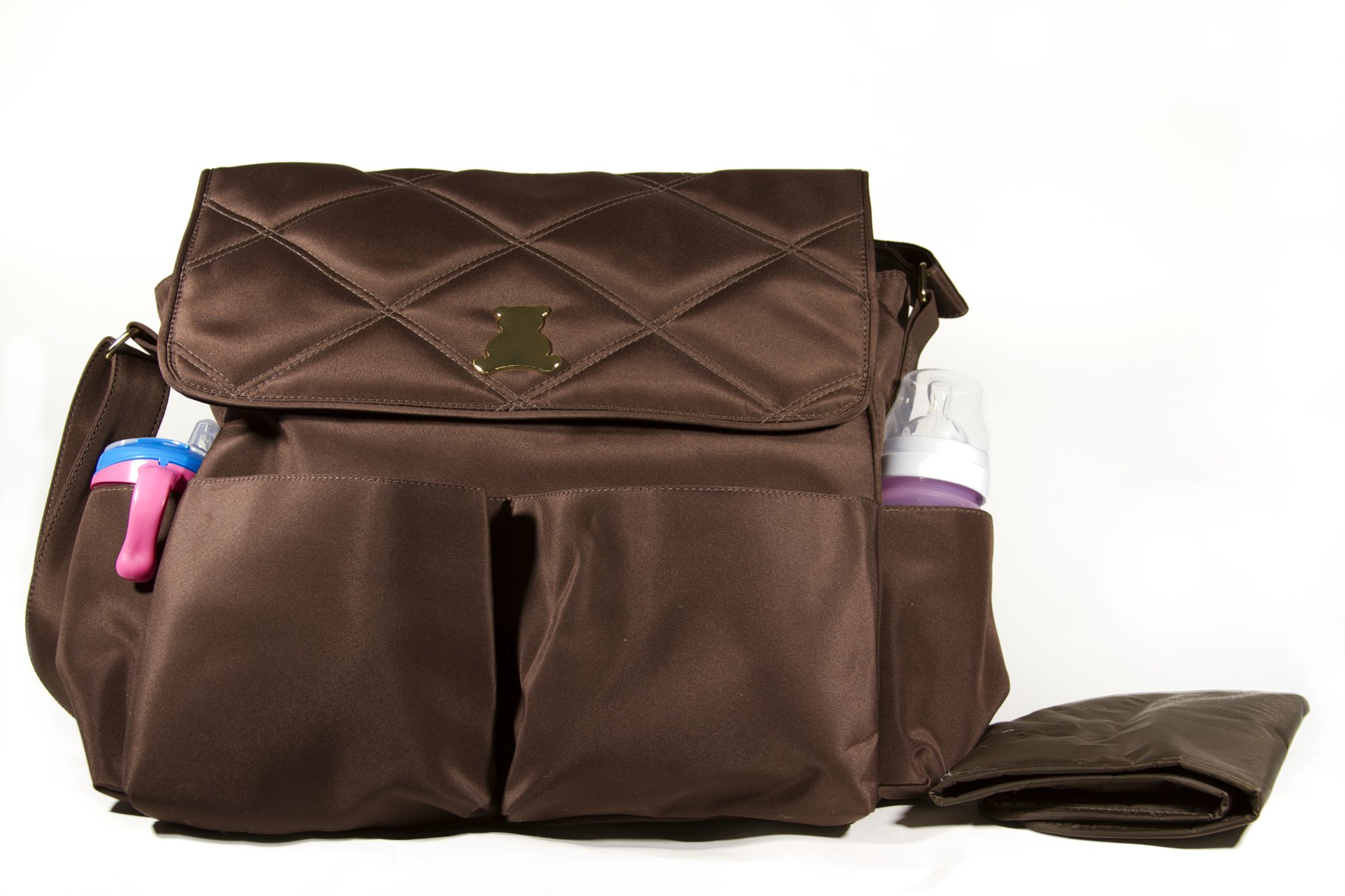 BL BABY - Elegance Collec. - MED - Crossbody Bag - Themal & Front Pockets - Brow - 7x16x12''
