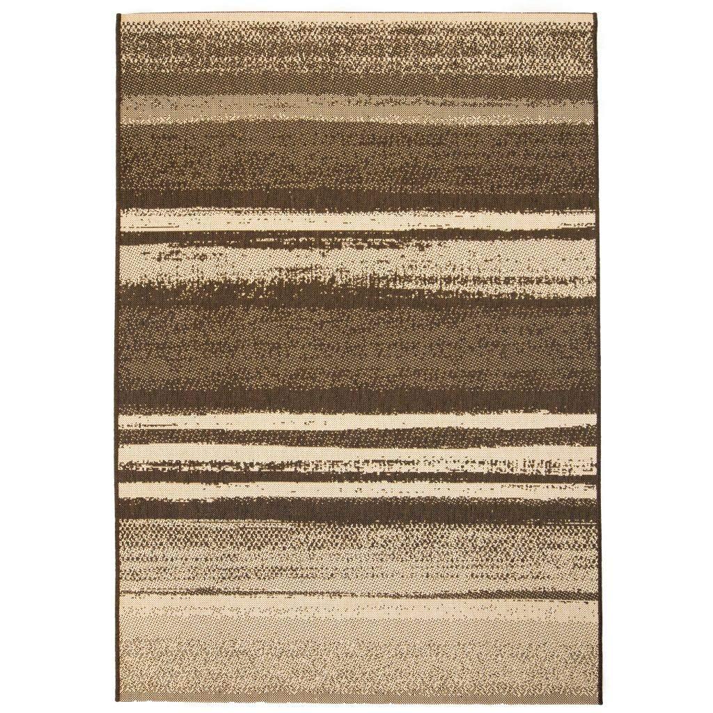 Zora Walter UV-Schutzbehandlung Outdoor-Teppich Sisal-Optik 180 x 280 cm Gestreift Braun Beige Wasserfest Teppich for Wohnzimmer, Schlafzimmer