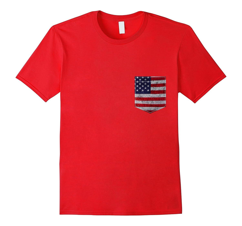 American Flag Pocket T-Shirt - Vintage USA Flag-PL