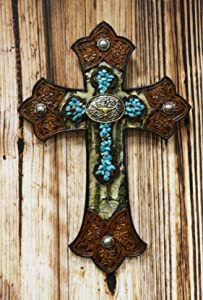 """Ebros Gift Rustic Western Turquoise Rocks With Longhorn Bull Concho Tooled Leather Finish Wall Cross Decor Plaque Vintage Design Hanging Sculpture 12"""" High Catholic Christian Accent Decorative Crosses"""