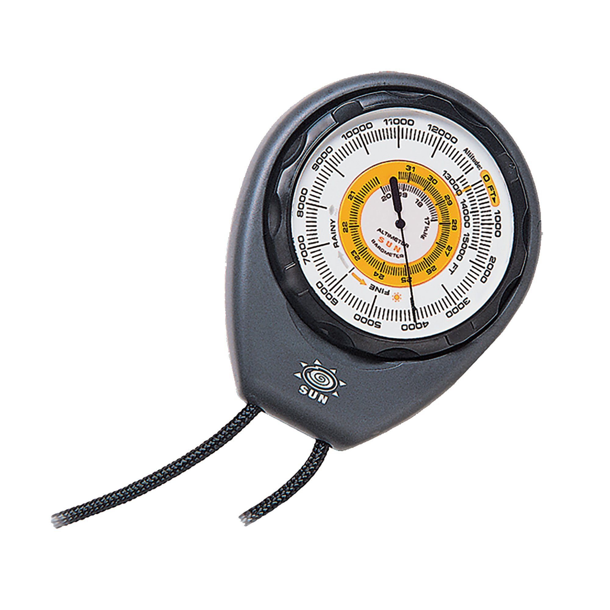 Sun Company Altimeter 203 - Battery-Free Altimeter and Barometer   Weather-Trend Indicator with Rugged ABS Case and Lanyard   Reads Altitude from 0 to 15,000 Feet
