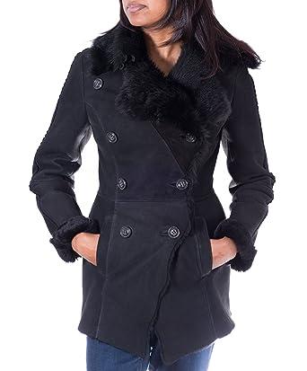 Para mujer de piel de oveja Suede Negro Abrigo de invierno de piel. Doble botonadura de piel de oveja merina.: Amazon.es: Ropa y accesorios