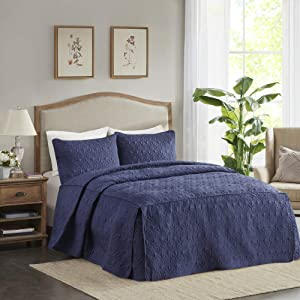 """Madison Park Quebec 3 PC Bedspread Double Sided Bohemian Design. Cottage Style Décor Cozy Quilt Hypoallergenic All Season Bedding-Set with Matching Shams, King(79"""" x81+24D), Fitted Navy"""