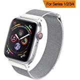 HILIMNY Strap Compatible with apple watch 38MM 40MM, Milanese sport Loop, Stainless Steel Mesh Band, Compatible with iWatch Series 4, Series 3 Series 2 Series 1 (38MM 40MM, Silver)