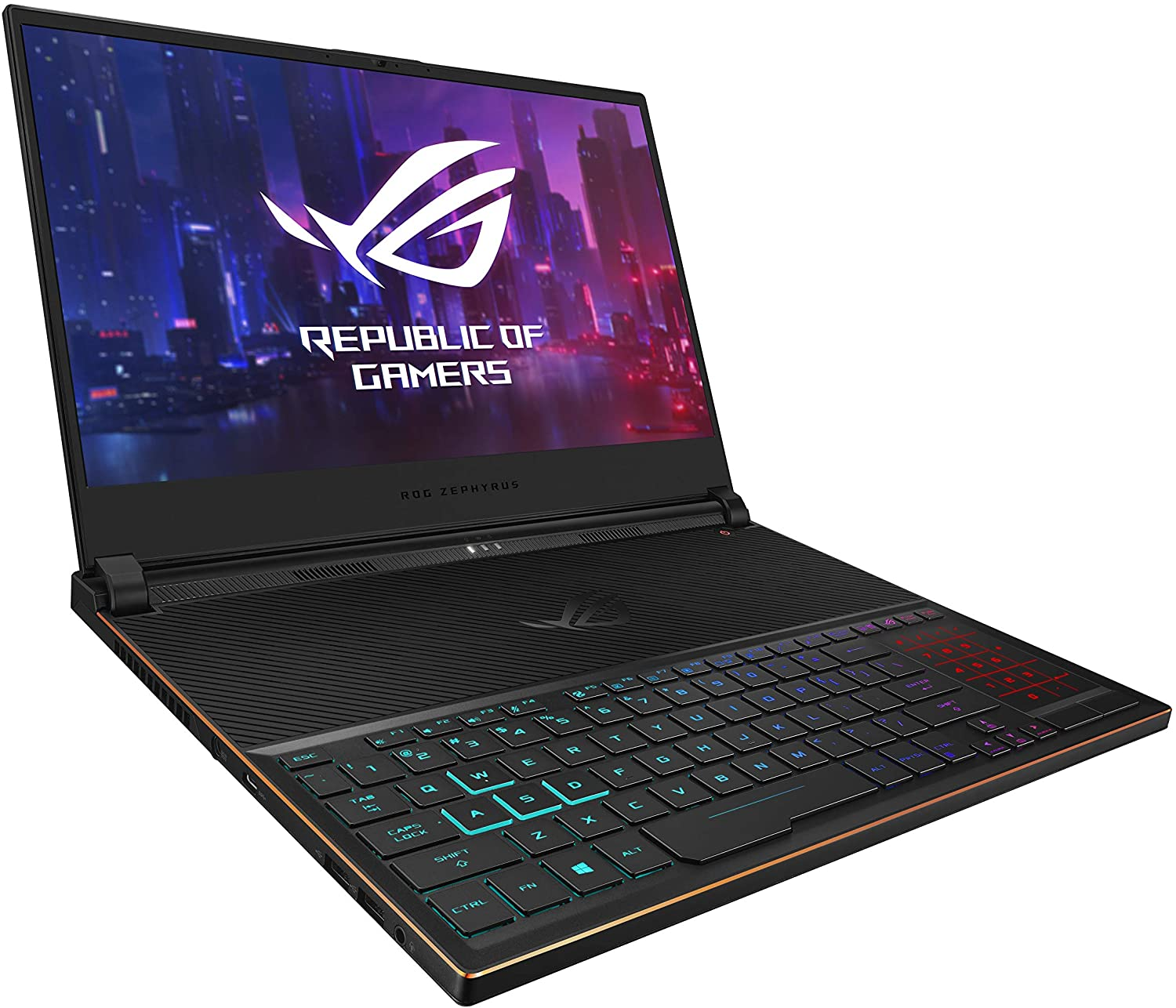 "ASUS ROG Zephyrus S Ultra Slim Gaming Laptop, 15.6"" 144Hz IPS-Type Full HD, GeForce RTX 2080, Intel Core i7-8750H CPU, 16GB DDR4, 512GB PCIe Nvme SSD, Aura Sync RGB, Windows 10 Pro - GX531GX-XS74"