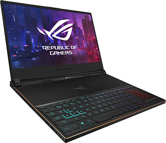 "ROG Zephyrus S Ultra Slim Gaming Laptop, 15.6"" 144Hz HDR IPS Type FHD, GeForce RTX 2080, Intel Core i7-9750H Processor, 16GB DDR4, 1TB PCIe NVMe SSD, Aura Sync RGB, Windows 10 Pro, GX531GX-XB77"