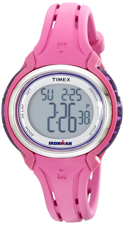 Timex Women's TW5K904009J Ironman Sleek 50 Pink Silicone Strap Watch