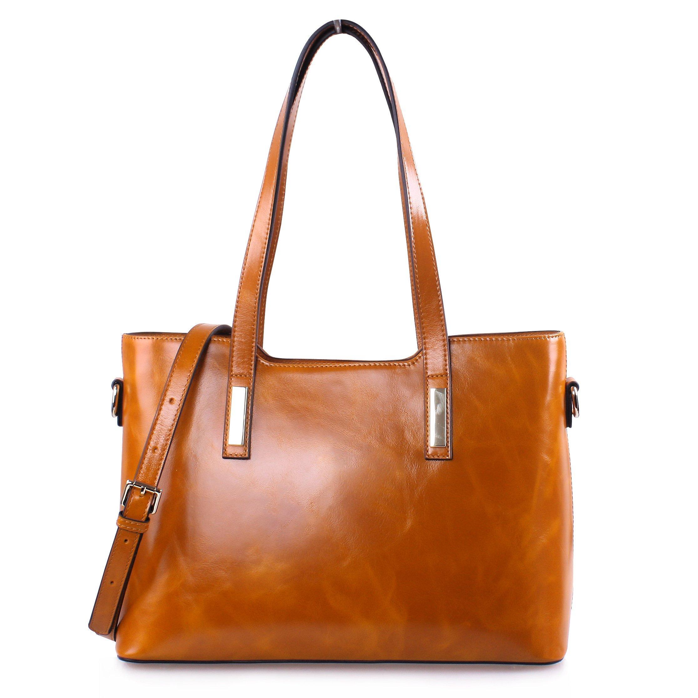 Yafeige Women's Handbags Vintage Genuine Leather Shoulder Bags Tote Cross Body Bags Purse for Ladies(Brown-1)