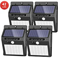 [Upgraded 42 LED] SEZAC Solar Lights Outdoor Solar Motion Sensor Lights with 120° Wide-Angle Detection, Waterproof Wireless Bright Solar Security Lights for Garage Yard Patio Garden Pathway (4 Pack)