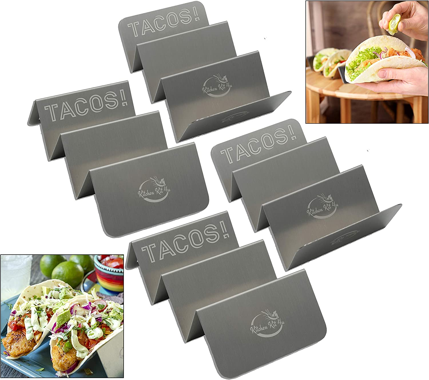 4 Pack Stylish Stainless-Steel 304 - Tray Style Taco Holders for Soft & Hard Shell Tacos & Burrito's (puesto de tacos) | Ideal for Taco Tuesday | Dishwasher, Grill and Oven Safe |