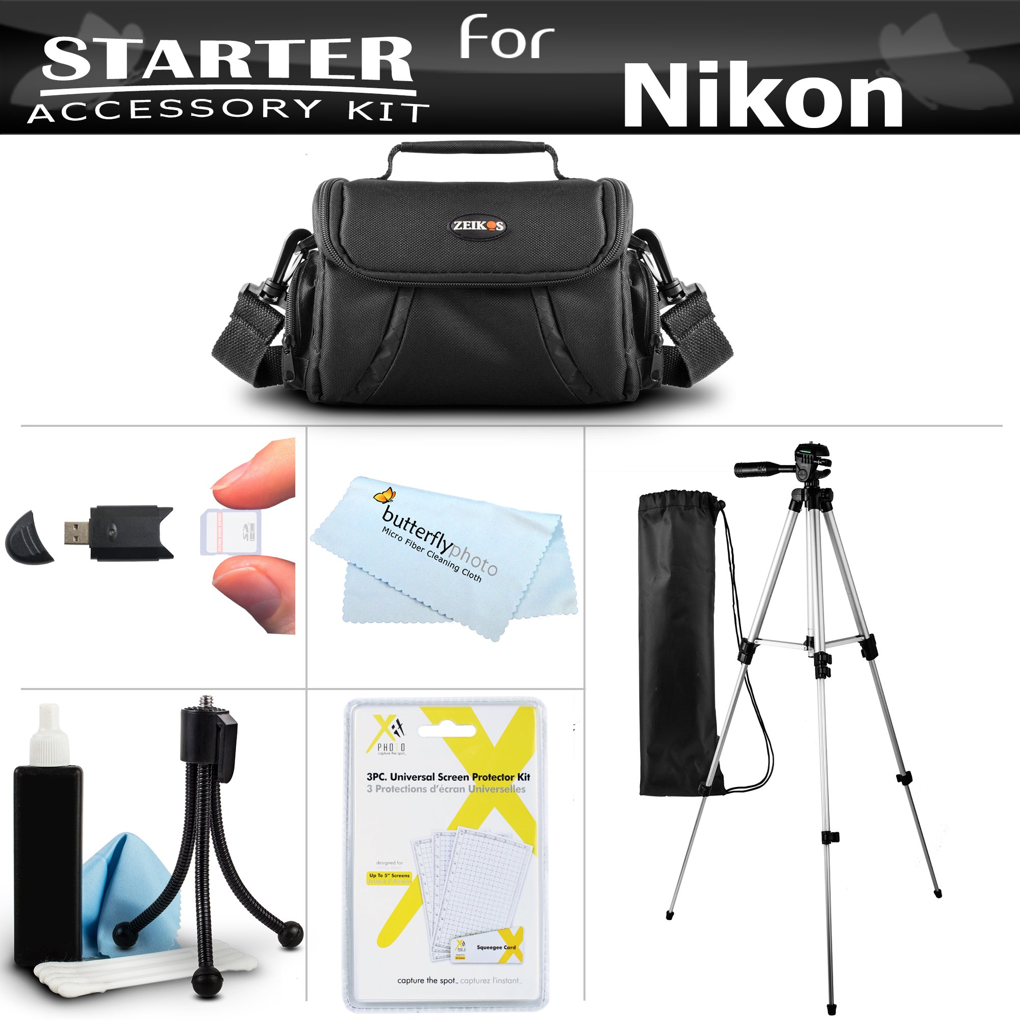Accessory Starter Kit For The Nikon Coolpix B500, L330, L340, L310, L810 L820, L620, L830, L840 Digital Camera Includes Deluxe Carrying Case + 50 Tripod w/Case + Screen Protectors + Mini Tripod + More by ButterflyPhoto