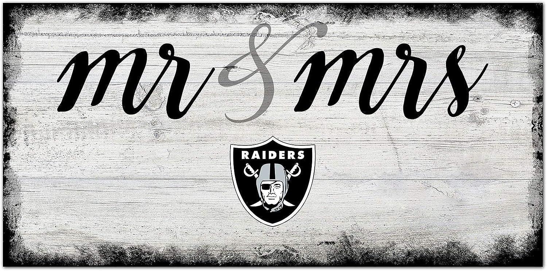 Fan Creations NFL Las Vegas Raiders Unisex Oakland Raiders Script Mr & Mrs Sign, Team Color, 6 x 12