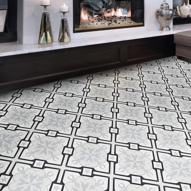 Moroccan Mosaic Tile House Ctp55 01 Chala 8 X8 Handmade Cement Tile Gray Black White Amazon Com