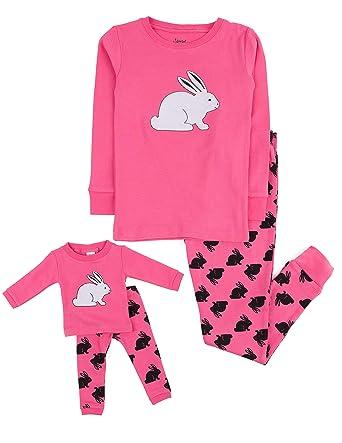 c777316624 Amazon.com  Leveret Kids   Toddler Pajamas Matching Doll   Girls Pajamas  100% Cotton Set (Toddler-14 Years) Fits American Girl  Clothing