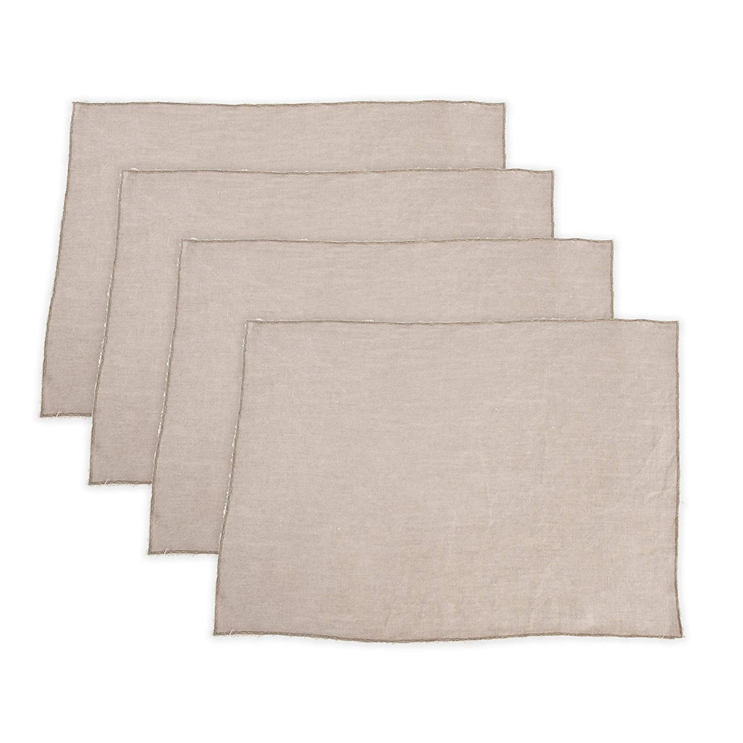 SARO LIFESTYLE 13009.PW1420B Graciella Collection Fringed Design Stone Washed Placemats 14 x 20 Pewter Set of 4