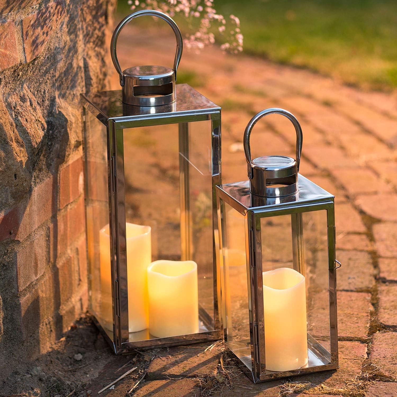 Pajoma 82204 Lot de 2 lanternes en Acier Inoxydable