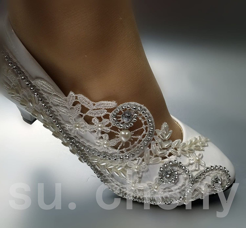 JINGXINSTORE 5cm 2  Spitze Ferse Spitze  Weiß Kristall Hochzeit Schuhe Braut Pumpen Größe US 5-12 263b2c
