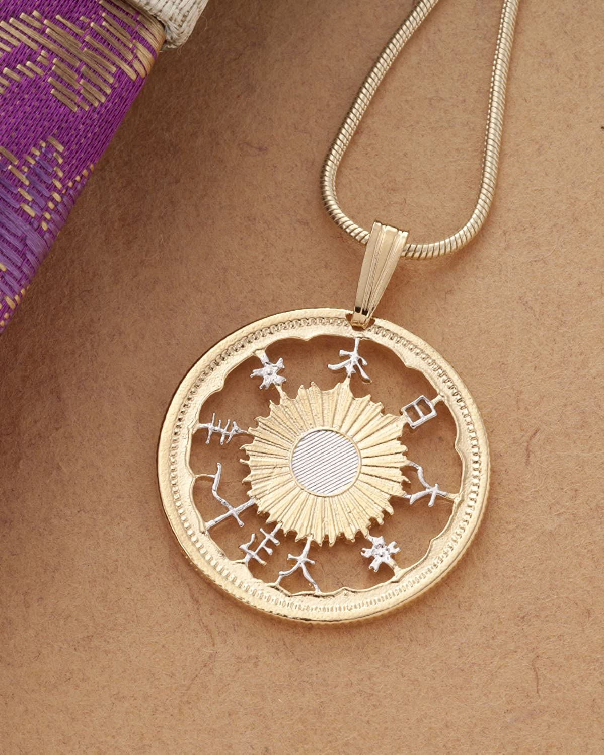 7//8 Dia. Japanese Coin Pendant and Necklace # 903 14K Gold/& Rhodium Plated Hand Cut Japanese Coin