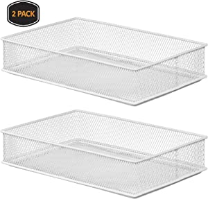 YBM HOME White Mesh Drawer Cabinet and or Shelf Organizer Bins, School Supply Holder Office Desktop Organizer Basket 2526-2 (2, 6x9x2 Inch)