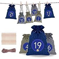 Qxmcov Calendario de Adviento Calendario Familiar de Adviento, Set de 24 Bolsas de Yute, Adviento Bolsa de Regalo…