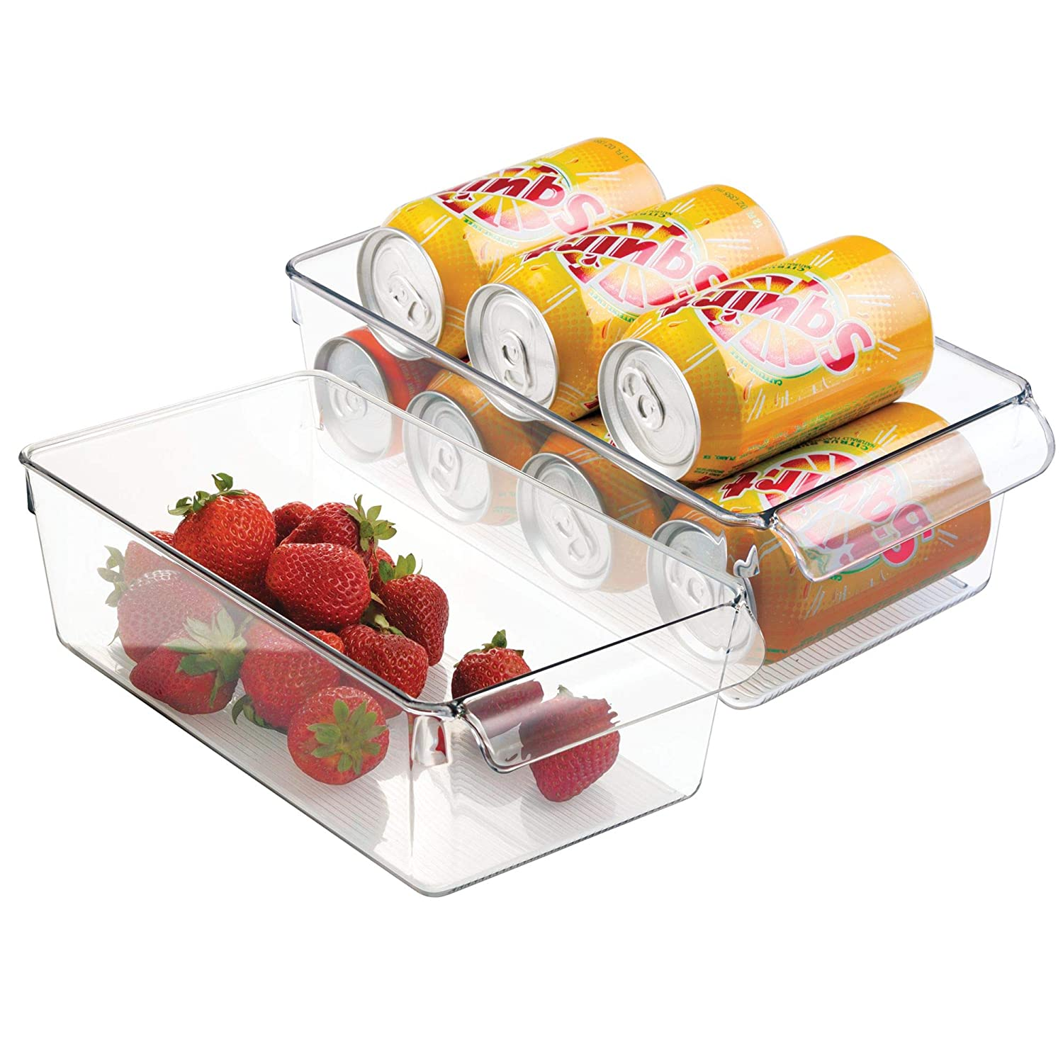 InterDesign 59430M2 Linus Pullz Kitchen Refrigerator or Pantry Bin with Front Pull Handle for Food Storage, Craft or Office Supplies - Clear, Set of 2