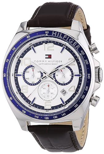 Tommy Hilfiger 1790937 - Reloj análogico de cuarzo con correa de cuero para hombre, color marrón/plateado: Amazon.es: Relojes