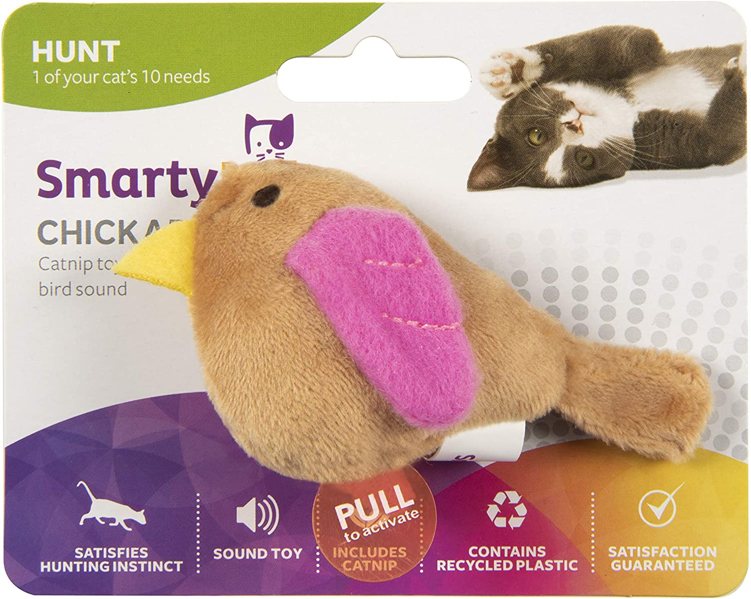 4. SmartyKat Chickadee Chirp Electronic Bird-Sound Cat Toy