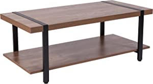 Flash Furniture Beacon Hill Rustic Wood Grain Finish Coffee Table with Black Metal Legs