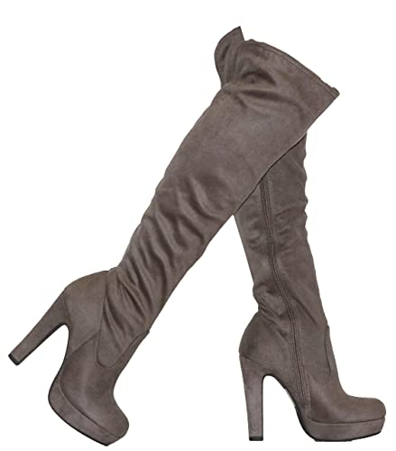 6bfd1fdc3a9a Amazon.com  MVE Shoes Women s Stretch Thigh High Heeled Boots  Shoes