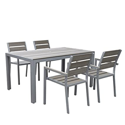 grey outdoor dining set metal corliving pjr572z1 gallant piece outdoor dining set sun bleached grey amazoncom set