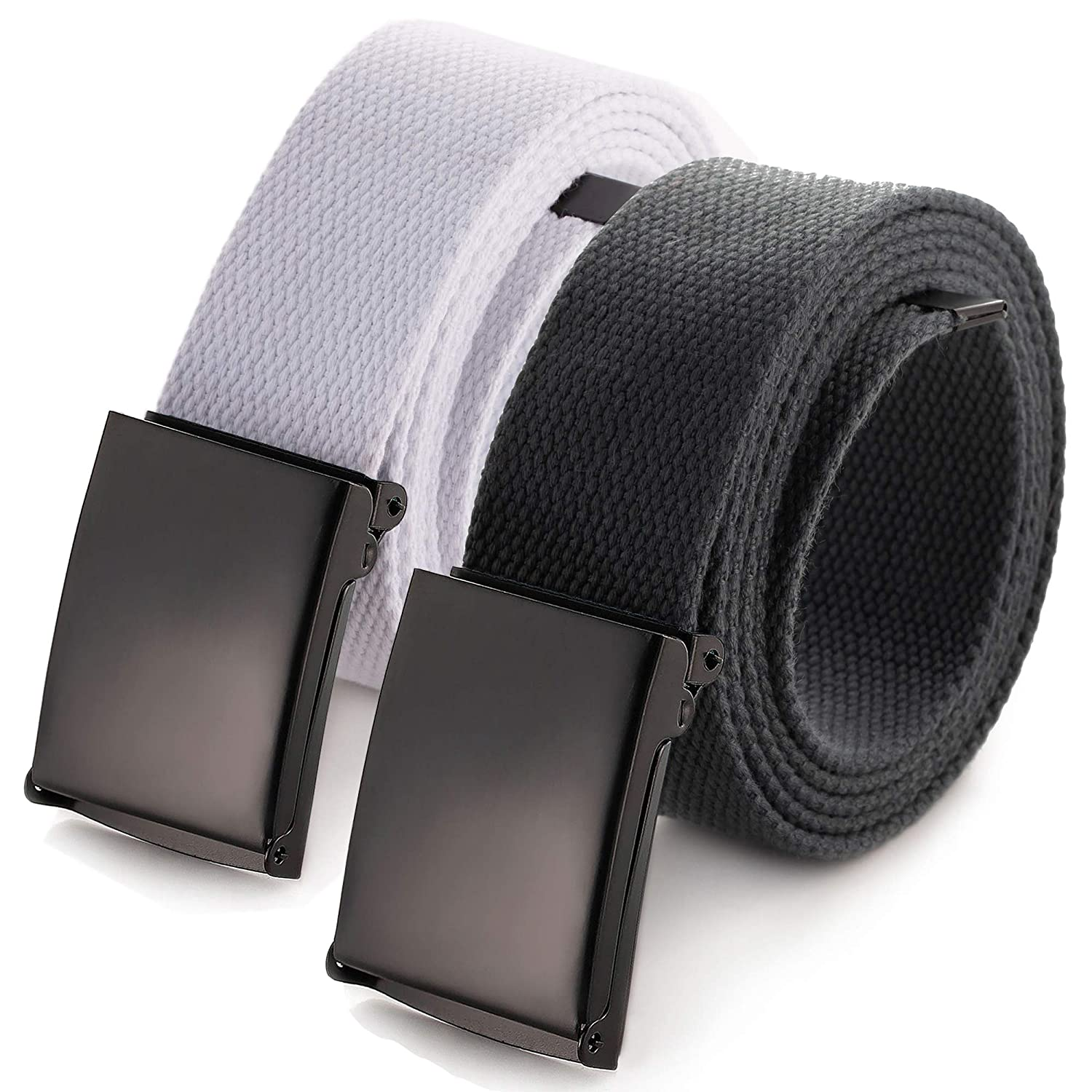 Outdoor Sports Casual Belt, Canvas Web belt Waist Flip-Top Solid Black Buckle Up to 56 (Black) Universal Promotions