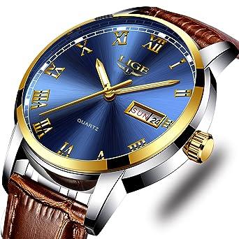 Mens Sport Quartz Watch Roman Numeral Fashion Analog Luminous Wristwatch with Calendar Date,Waterproof 30M