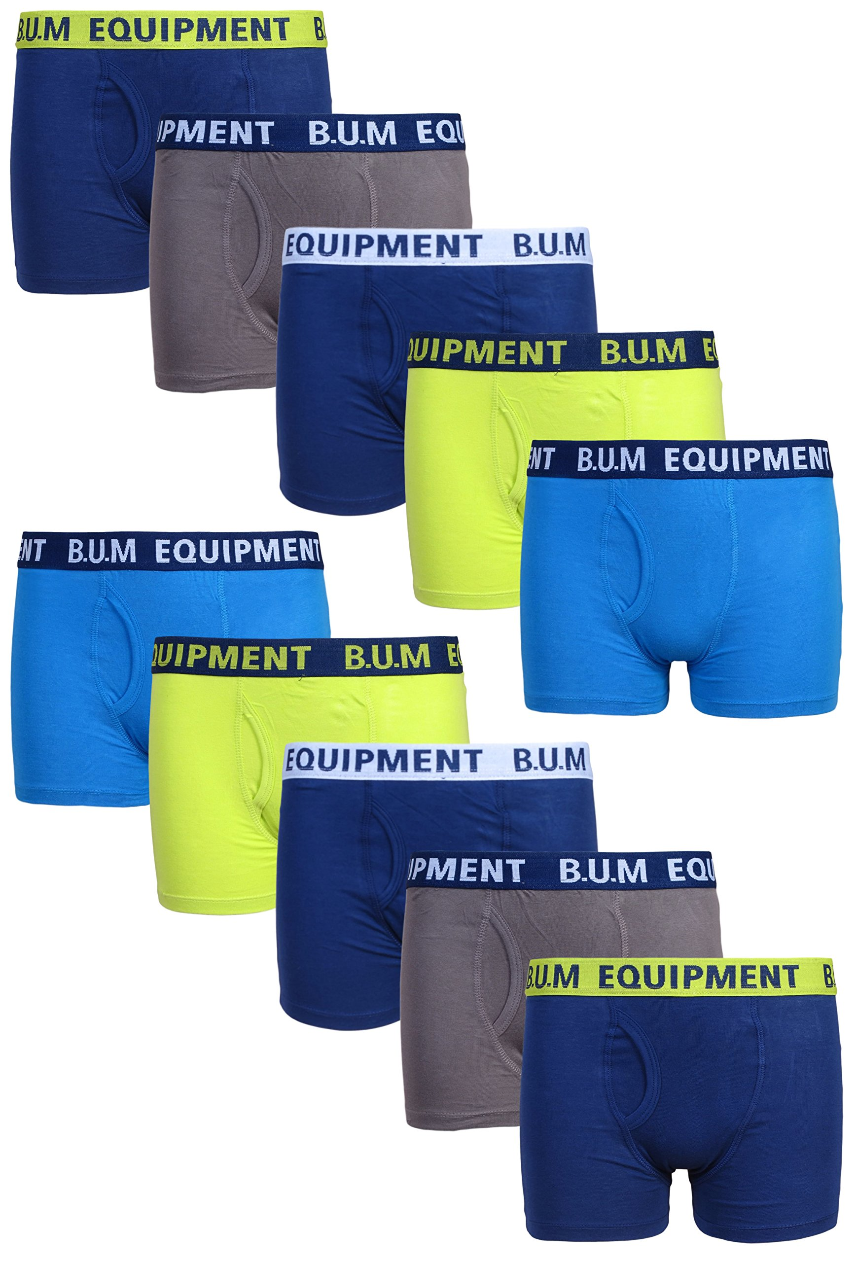 B.U.M. Equipment Boys 10 Pack Solid Boxer Briefs Underwear, Fashion, Small/6-7'