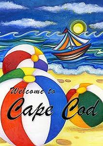 Toland Home Garden Beach Balls Welcome to Cape Cod 12.5 x 18 Inch Decorative Regional Massachusetts Summer Sail Boat Garden Flag