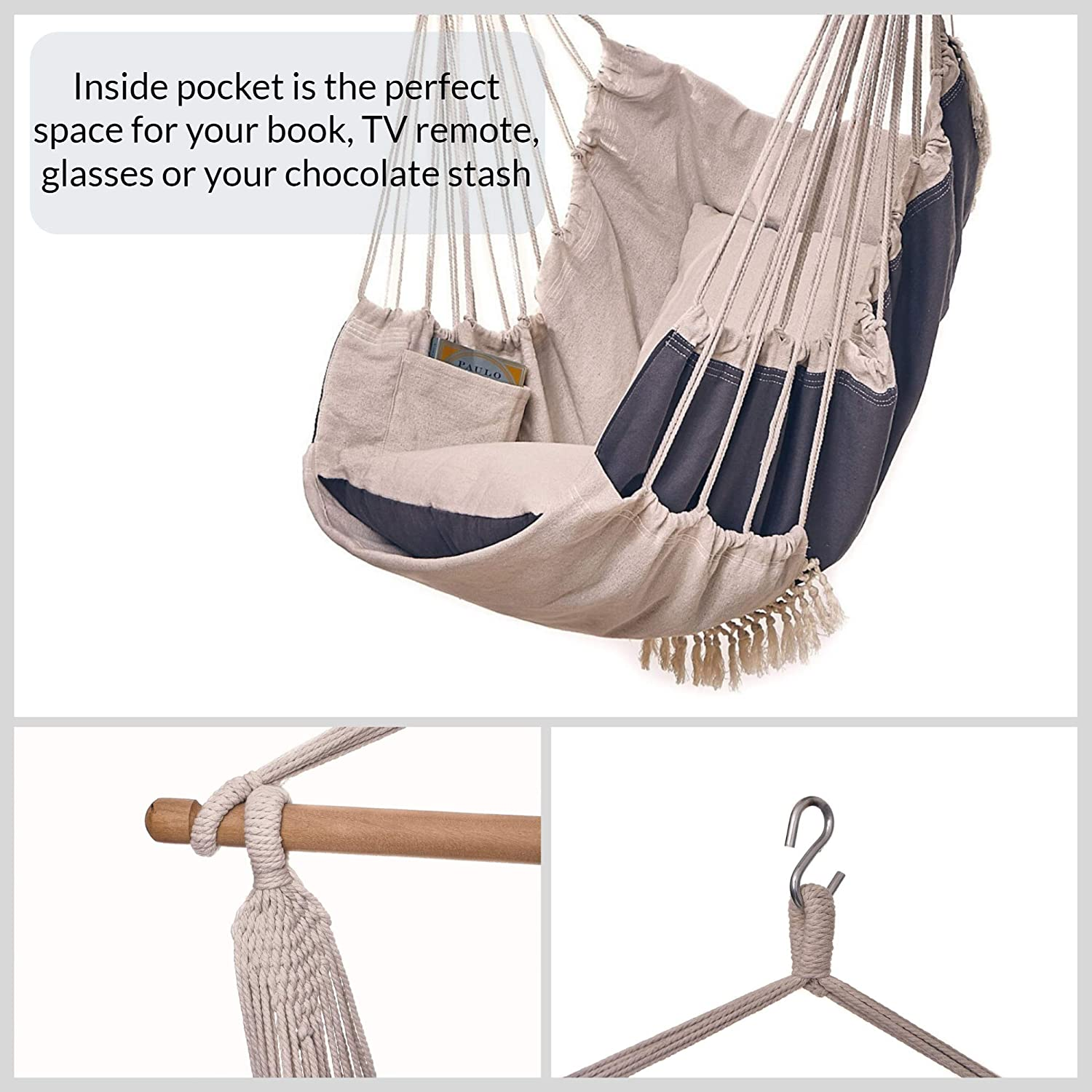Bdecoru Hanging Hammock Chair Large Swing Chair | Sitting and Reclining Positions | 2-Layer Fabric for Extreme Durability | 2-Tone Beige and Gray Plus 2 Cushions and Side Pocket | Indoor/Outdoor Use: Furniture & Decor