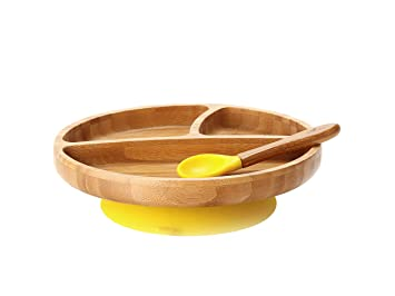 Cups, Dishes & Utensils Yellow Avanchy Bamboo Suction Baby Plate Bowls & Plates Spoon