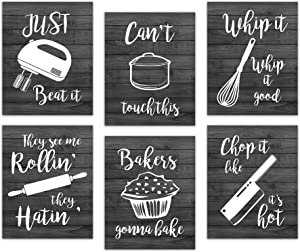 Retro Kitchen Canvas Wall Art Decor - Prints Posters Kitchenware with Sayings Unframed Home Dining Room Cafe Restaurant Signs Bar Decorations , Set of 6 ,8