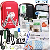 First Aid Kit Survival Kits, Monoki 241Pcs Upgraded Outdoor Emergency Survival Kit Gear - Medical Supplies Trauma Bag Safety First Aid Kit for Home Office Car Boat Camping Hiking Hunting Adventures