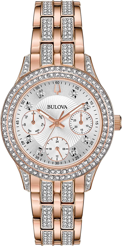 Bulova Women's Swarovski Crystal Stainless Steel Quartz Watch with  Stainless-Steel Strap, Rose Gold, 16 (Model: 98N113)