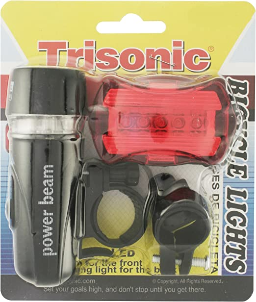 Amazon.com : Trisonic power beam Bicycle Light Set Super Water Resistant Bright 5 LED Headlight, 5 LED Taillight, Quick-Release, Easy To Install for Kids Men Women Cycling Safety Flashlight : Sports & Outdoors