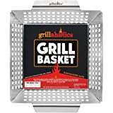 Grillaholics Heavy Duty Grill Basket - Large Grilling Basket for More Vegetables - Stainless Steel Grilling Accessories Built
