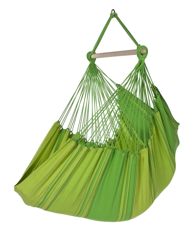 Hängesitz / Hängesessel XL, reine Baumwolle, 130 x 200 cm, 150 kg Tragfähigkeit, 120 cm Querholz Esche, in 5 Farben, grün