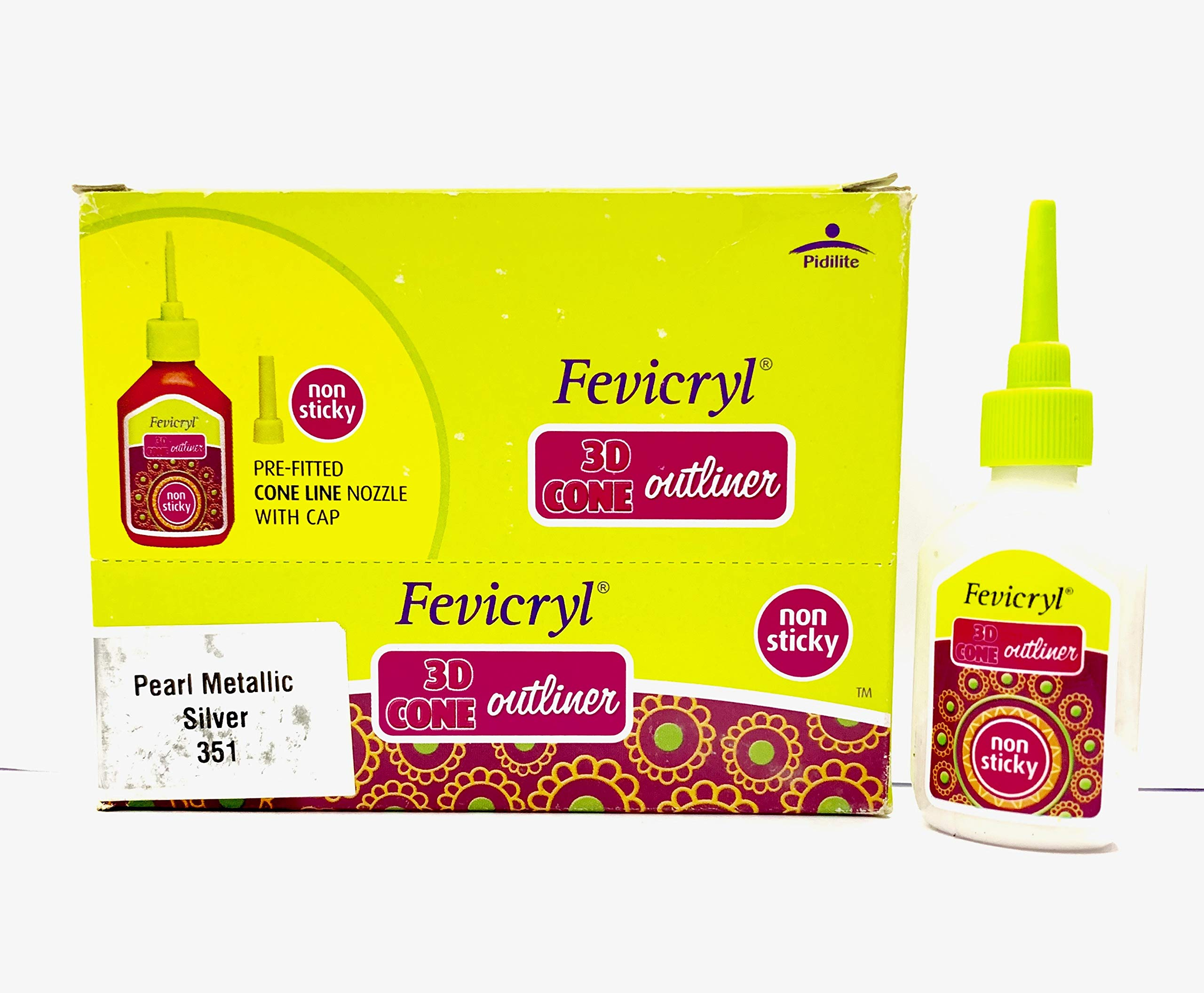 New Fevicryl Non Sticky 3D Cone Outliner Non-Toxic with Pre-Fitted Cone Line Nozzle with Cap (351) - 20ml Bottle -10 Bottle Pack - Colour - Pearl Metallic Silver- with Free 3D Keyring by Fevicryl